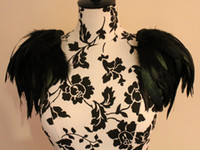 Wholesale black rooster feather shoulder epaulette FSP13002