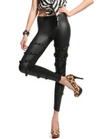 Leggings Skinny,Slim Women Cozy Black Studded PU Leather Leggings For Women r42 #u11-1vEy