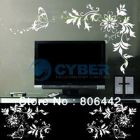 Wholesale White Romantic Floral Vine Pattern Removable DIY Wall Stickers Wall Decals Art Decor Home Room