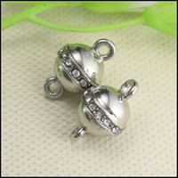 Clasps & Hooks antique necklace clasps - 30PCS Antique Silver Tone Crystal Strong Ball shape Magnetic Clasps for making Bracelet Necklace jewelry findings