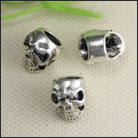 Wholesale 50PCS Antique Silver Tone Zinc Alloy Skull Big Hole Beads Fit European making Bracelet jewelry findings