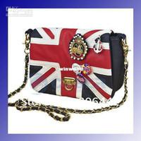 Men ladies bags uk - Ladies UK Flag Union Badge PU Shoulder Bag Messenger Handbag Quilting Chain Cross