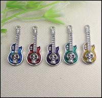 Wholesale 50PCS Antique Silver Tone Mix Enamel Guitar Shape Skull Connector Pendants Beads Fit Bracelet Necklaces jewelry findings