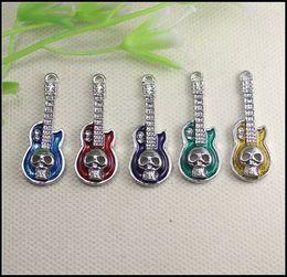 Wholesale Skull Connector Beads - 50PCS Antique Silver Tone Mix Enamel Guitar Shape Skull Connector   Pendants Beads Fit Bracelet   Necklaces jewelry findings
