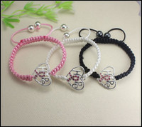 Charm Bracelets Unisex Alloy 15pcs silver plated Crystal Rhinestones Sideways Heart Hope RIBBON BREAST CANCER Connectors beads Macrame Bracelets Adjustable