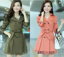 2014 spring new influx of large size women's casual Korean version of Women Lace double-breasted coat,trench coat long coat