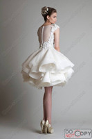 Crew cocktail dress - 2015 Hot Krikor Jabotian Vintage Cocktail Dresses Crew Neck Sleeveless Appliques See Through Back Tiered Organza Short Homecoming Gowns