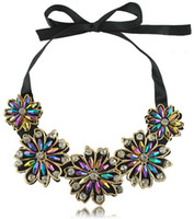 Wholesale NEW European and American style Handmade New Costume Jewelry ribbon Court flower crystal Collar necklace