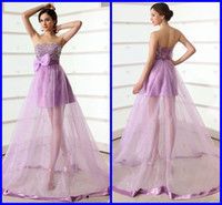 Wholesale A Line Strapless Sleeveless Tulle Sweep Train Lace up Ruffle Ribbon Bow Beads Fashion Hot