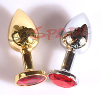 Wholesale Golden and Silver Metal Anal plug Size cm Butt Plug Booty Beads Random Colors Crystal Jewel Botton