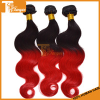 Brazilian Hair Body Wave 5A Remy Hair, Ombre Hair Ombre Brazilian Hair Body Wave 3 or 4 Bundles Lot Cheap Human Hair Extensions Queen Hair Products Virgin Remy Hair Weaves Ombre Color 1b Red