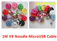 V888801 Universal  Colorful V8 1M Flat Charge and transfer data Noodle usb Cable For Samsung htc universal Smartphone Noodle Micro usb cable Free Shipping
