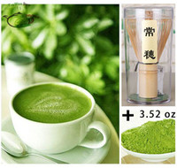 al por mayor paquetes de té verde-Set-BB puro natural orgánica de té verde Matcha el bolso de polvo (sellado al vacío) 3,52 oz 0.22lb + 100 g de bambú Chasen Bata B Set Paquete de 100%