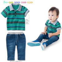 Summer baby washed t shirts - Fashion Summer New baby clothing suits Boys striped collar short sleeved T shirt Washed denim trousers baby leisure suit