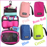 Wholesale New Bright Colors Travel Cosmetic Makeup Toiletry Purse Holder Beauty Wash Bag Organizer Hanging Items Drop Ship