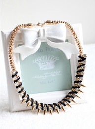 European Style Gold Plated Snake Chain Black Leather Rhinestone Rivets Necklaces