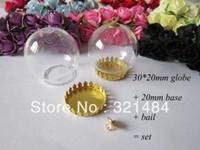 Other Jewelry Findings Metal Bulk 50X 30*20mm globe + 20mm gold plated princess crown bezel blank + bottle caps set glass vial pendants diy