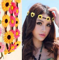 Wholesale Bohemian Headband for Women three Flowers Braided Leather Elastic Headwrap sun flower hair band Assorted Colors Hair Ornaments