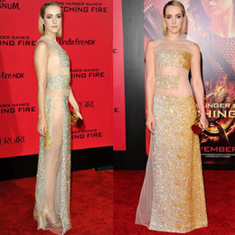 Wholesale 2014 Jena Malone Red Carpet Dress See through Sheer Neck Celebrity Dress Floor Length Zipper Back Beading Hot Sleeveless Evening Dress