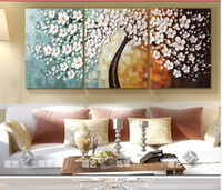 More Panel Oil Painting Impressionist 2014 Style Pachira Macrocarpa Hand-painted wall Art Home Decorative Abstract Flower Oil Painting On Canvas Dreamlike Flowers And Tree