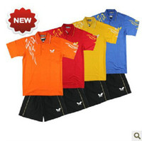 Wholesale butterfly summer children s table tennis badminton clothing cotton shirt shorts