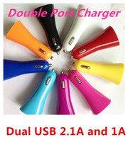 Wholesale Speaker Style Dual USB A A Car Charger Auto Power Adapter for Iphone S C S Samsung Galaxy S3 S4 Note Ipad Tablet PC Sony LG