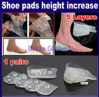 Wholesale 5x Layers Silicone Gel Shoe Insoles Heel Pads Increase Height Lift up Clear Soft