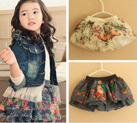 Wholesale Hot Sale New Summer Girls chiffon Rural wind tutu skirts Girls ruffle Pettiskirts Fluffy Christmas flower Party Wear T pc Melee