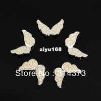 Wholesale 100pcs Cute X13MM Angel Wings D Alloy Metal Decoration Faux Pearl Beads Salon Nail Art Tips Craft DIY Design Accessories