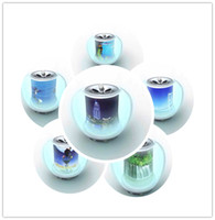 Wholesale Transparent Crystal Colorful Apple Small Mini Speakers For Mobile phone MP3 MP4 Little Computer Speakers New