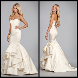 Wholesale Fashion Hayley Paige Satin Style Fit And Flare Cascading Ruffle Wedding Bridal Dresses Vestido Novia