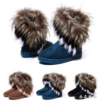Ankle Boots Snow Boots Women New Autumn and Winter Short Boots Fox Fur Rabbit Fur Snow Boots Leather Tassel Women's Shoes