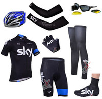 Wholesale 2014 sky cycling team jersey custom made short sleeve bib sets amp arms amp gloves amp legs amp helmet amp Shoes covers amp cycling sunglasses