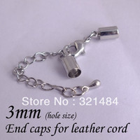 Crimp & End Beads Jewelry Findings Metal Free ship! 200piece rhodium dull silver plated cord crimp end caps for leather cord 3mm with lobster and extender chain