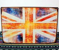 Wholesale 20 cm UK Flag Vintage Signs Metal Painting Wall Plaques Tin Sign Retro Poster Home Bar Pub Decor