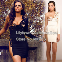 Wholesale New Arabia One Shoulder String Mini Cream Cool Special Occasion Dresses Runway Celebrity Dresses Sexy Bodycon Fashion Lady