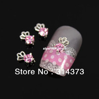 Black Round Rhinestone & Decoration 100 PCS LOT 9X5MM 3D Bling Charm Baby Pink Color Zircon Crystal Silver Tone Alloy Metal Nail Art Cellphone Craft Decorations