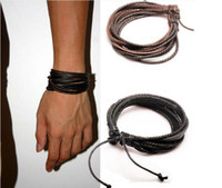 Wholesale Multilayer Wrap Charm Genuine Leather Black and Brown Braided Rope Bracelet for Men and Women Charms Fashion DIY Bracelet Jewelry Colours