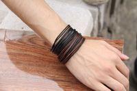 Charm Bracelets leather bracelet - 2014 Fashion Multilayer Bracelet Jewelry Wrap Charm Genuine Leather Bracelet with Braided rope Unisex for Men amp Women hand knitted bracelets