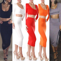Street Style Cotton Round 2014 Clothing Spring Fashion Sexy Club high waist two piece set deep neck multi-colored Exclusive dresses Cropped Outfit Bodycon dress