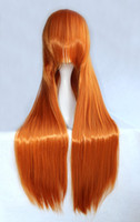 Wholesale 80cm EVA Asuka Golden Orange Long Straight Cosplay Costume Wig inches High Temperature Fiber Wig BW018