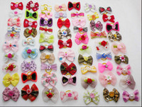 Wholesale 500PCS Handmade Designer Pet Dog Accessories Grooming Hair Bows For Dogs Bling Doggie Show Product SALE