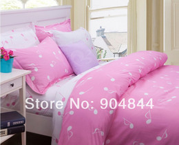 Pink white music note bedding sets teenager,4pcs twin full queen twill cotton,trend lovely double home textile sheet quilt cover