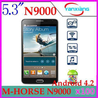 Smartphone English  DHL 100PCS M-HORSE N9000 note 3 style SP6820A Android 4.2 1.0GHz Dual Cameras Dual Sim 5.5 inch Capacitive Screen Smart Phone YX-PH-23