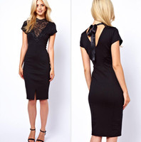 2014 Women's Clothings Fashion Dresses Black Lace Mosaic sho...
