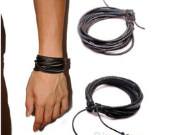 Fashion Leather Bracelets & bangles Wrap Multilayer Genuine Leather Bracelet with Braided Rope Fashion hand-knitted bracelet Jewelry Hot