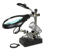 Wholesale 2 X X X LED Light Magnifier Helping Hand Auxiliary Clamp Alligator Clip Stand clamp tool magnifying glass