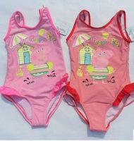 Wholesale China Peppa Pig Children Girls Tank Swimwear Red Pink Striped One Piece Swim Suit Clothing Baby Girl Kids Beathwears B3213