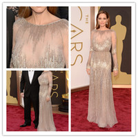 anne black gray - 2014 Oscar Awards Anne Hathaway Angelina Jolie Luxury Red Carpet Celebrity Evening Dresses Gowns Sheer Neck Beaded Illusion Long Sleeve