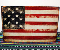 Wholesale 20 cm USA Flag Retro Signs Metal Painting Tin Sign Bar Pub Decor Vintage Plaques